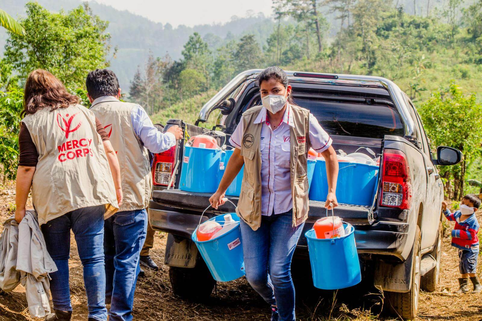 Mercy Corps team member delivering essential supplies in Guatemala