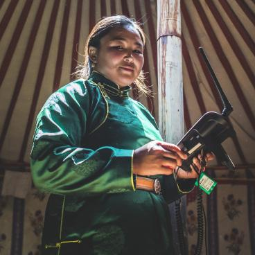 Woman in mongolia with a drone
