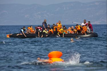 A dinghy taking refugees across the mediterranean