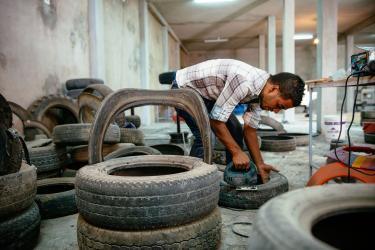Farouk making furniture from recycled tires