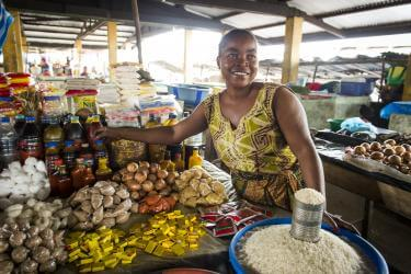 Woman at farm stand in liberia