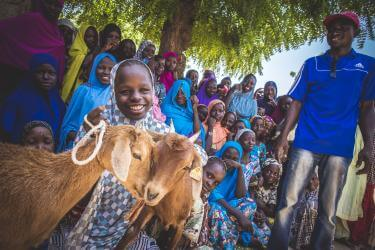Rural Niger community and a young lady with goats.