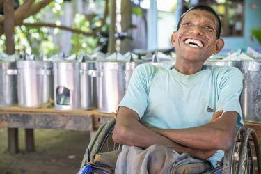 "Frederico, 36, builds clean cookstoves in a small business Mercy Corps supports on the island of Timor-Leste. ""All disabled people have their own capacity, their own knowledge where they can do something,"" he says. Photo: Ezra Millstein/Mercy Corps"