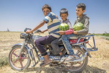 Abu Goubran's son Safouan (center, 12) and his friends bring recently harvested watermelon home on a motorcycle.