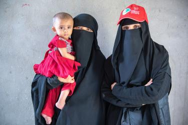 Two women and a baby in yemen