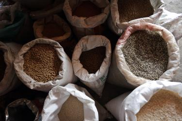 Open sacks of grain in nepal