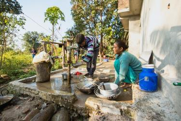 Nepalese man and woman share household chores equally.