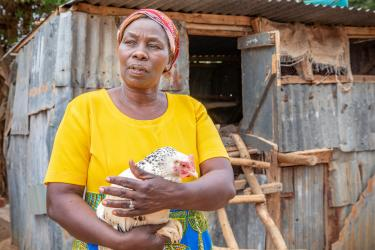 Kenyan woman holding a chicken outside a coop.