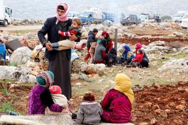 Syria families in a refugee camp.