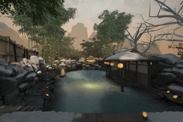 A vista in a virtual reality meditation environment comprising a pool of water surrounded by stones inside of a fenced property with bamboo trees.