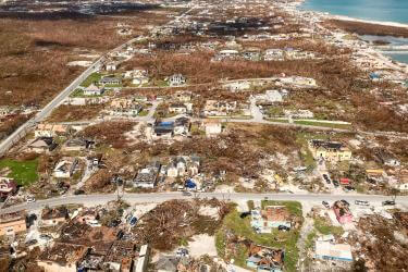 Damage to great abaco island after hurricane dorian.