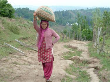 Farmer carrying bag of potato seed on her head, supported by her hand