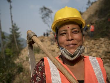 Nepalese road construction worker.