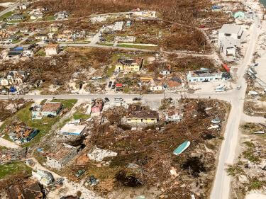 An aerial view of the damage from hurricane dorian in the bahamas