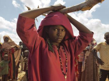 Girl in somalia with red top and scarf